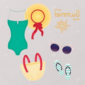Vector Costume And Accessories: Photostock Vector Fashion Set Of Summer Clothes Outfit And Accessories