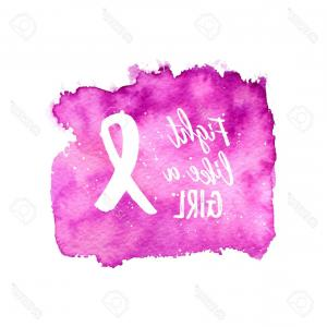Vector Text Ribbon: Photostock Vector Fight Like A Girl Awareness Month Ribbon Banner Poster Vector Text On Pink Watercolor Background Whi