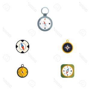 Measurement And Direction Vector: Flat Icon Direction Set Of Navigation Measurement Vector