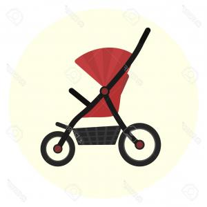 RedVector Girl: Photostock Vector Flat Red Vector Baby Stroller Icon Unisex Baby Transport Cute Colorful Baby Girl And Boy Pram Carria