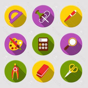 Free Vector Flat Education Icons: Photostock Vector Flat School Icons Vector Collection High School Object And College Education Items With Teaching And