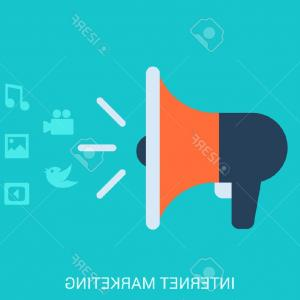 Music Vector Content: Photostock Vector Flat Style Design Vector Illustration Internet Online Marketing Smm Smo Concept Loudspeaker Icon Spr