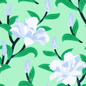 Chinese Motifs And Flowers Vectors: Photostock Vector Floral Seamless Vector Pattern With Traditional Chinese Motifs And Peony Flowers In Soft Blue And Mi