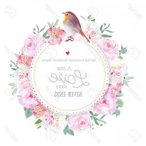 Pink Peony Vector: Photostock Vector Floral Vector Round Card With White And Pink Peony Rose Alstroemeria Lily Eucalyptus Mixed Plants An