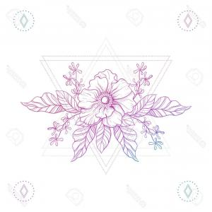 Bohemian Flowers Vector: Photostock Vector Flowers In Hipster Triangles Boho Color Line Art Tattoo Bohemian Vector Illustration Mystical Symbol