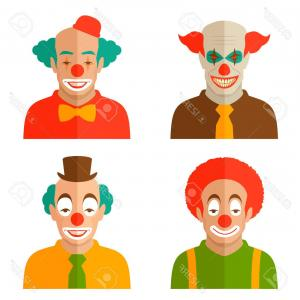Joker Smile Vector Art: Clown Smile Vector Cartoon With Red And Blue Hair And Gm