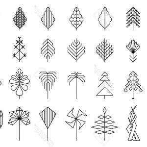 Hipster Leaf Vector: Abstract Modern Trendy Style Hipster Vector