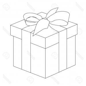 Box Outline Vector: Photostock Vector Gift Box Outline Present For Christmas Or Birthday Vector Illustration