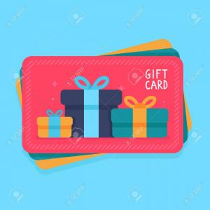 Vector Gift Certificate: Photostock Vector Gift Card In Flat Style Shopping Certificate With Present Icons