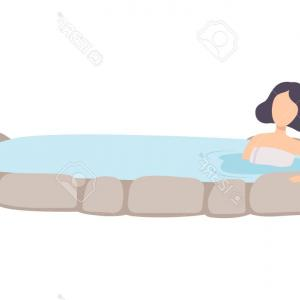 Vector Relaxing Hot Tub: A Woman Relaxing In A Hot Tub