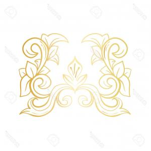 Vector Flourish Christmas: Photostock Vector Gold Isolated Plant With Leaves Decorations Italian Flourish Baroque Ornate For Wedding Or Christmas