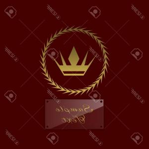 Nameplate Vector Graphics: Photostock Vector Golden Crown Symbol With Laurel Wreath And Glass Nameplate For Simple Text