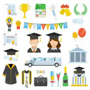 Graduation Celebration Silhouette Vector: Photostock Vector Graduation Vector Icon Set Of Exam Celebration Cartoon Elements Man And Woman Graduates In Hats And
