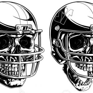 High Res Vector American Football: Photostock Vector Graphic Black And White Human Skull In American Football Helmet On White Background Vector Set