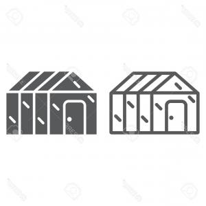 Black And White Vector Greenhouse: Photostock Vector Greenhouse Line And Glyph Icon Garden And Farm Glasshouse Sign Vector Graphics A Linear Pattern On A