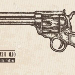 Vector Old Colt Revolvers: Crossed Pistols Hand Draw Sketch Revolver