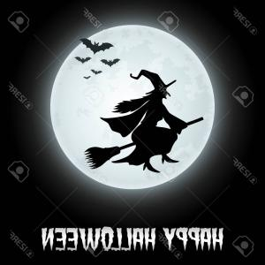 Full Moon Clipart- Vector: Photostock Vector Halloween Background With Flying Witch On The Full Moon