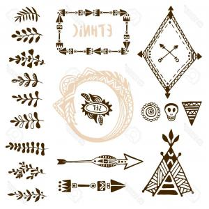 Arrow Border Frame Vector: Photostock Vector Hand Drawn Ethnic Collection With Arrows Wigwam Frames And Border Floral Brush Strike Elements For D