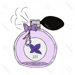 Scent Vector: A Bottle Of Perfume With A Bow Doodle With Motivational Inscription I Love Your Scent Gm