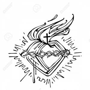 Sacred Heart Vector: Photostock Vector Hand Drawn Vector Illustration Or Drawing Of Jesus Christ Sacred Heart
