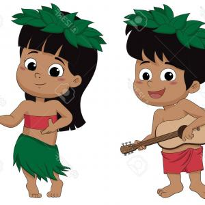 Hawaiian Dancer Vector Images: Photostock Vector Hawaiian Boy Playing Ukelele And Girl Hula Dancing Vector And Illustration