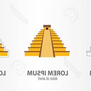Maya Pyramid Vector: Ancient Maya Pyramid With Temple On Top And Long Vector