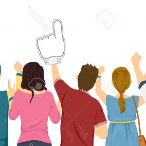 Vector Sports Crowd Cheering: Photostock Vector Illustration Featuring A Group Of Sports Fans Cheering For Their Team