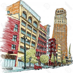 Vector Building Detroit: Stock Illustration Night Time View Detroit Michigan