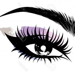 Vector Illustration Eyes Makeup: Photostock Vector Stylized Decorative Makeup Set Hand Drawn Eyes With Thick Long Eyelashes And Perfect Brows Black And