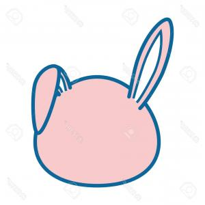 Vector Easter Rabbit Face: Cute Bunny Face Image Vector