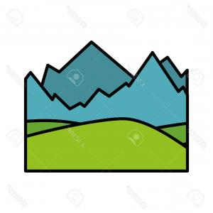 Snowy Mountain Vector Graphics: Photostock Vector Isolated Snowy Mountains View Icon Vector Illustration Graphic Design