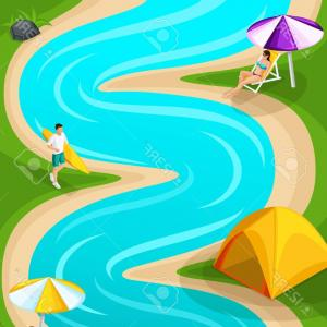 Vector Runner Game: Photostock Vector Isometric Landscape Resting On The River Runner For The Game Friends On Vacation Fresh Air Picnic Da