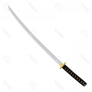 Samuri Sword Vector: Child With Samurai Sword Vector
