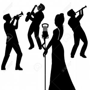 Vector Jazz: Photostock Vector Jazz Singer In Silhouette