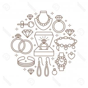 Jewelry Vector Line Art: Photostock Vector Jewelry Shop Diamond Accessories Banner Illustration Vector Line Icon Of Jewels Gold Watches Engagem