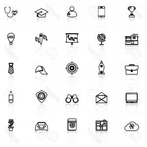 Vectors Job Description: Photostock Vector Job Description Line Icons With Reflect On White Stock Vector