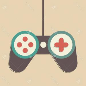 Grey Game Controller Vector: Photostock Vector Joystick Joypad Game Controller Icon Logo Vintage Retro Illustration Stock Vector Flat