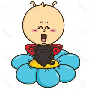Kawaii Bug Vector: Cute Child Background With Kawaii Doodles Spring Vector