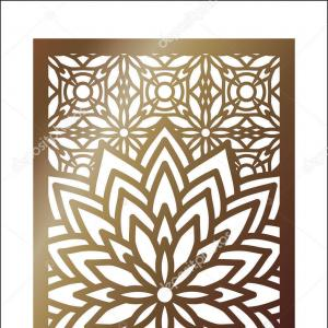 Vector With Laser Cutting: Photostock Vector Laser Cut Floral Arabesque Ornament Pattern Vector Template Cutting Wedding Invitation Greeting Card