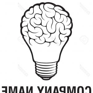 Brain Vector Art: Photostock Vector Light Bulb Idea With Brain Vector Logo Template Corporate Icon Such As Logotype Creative Light Bulb