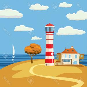 Lighthouse Beacon Silhouette Vector: Stock Illustration Colorful Silhouette Of Lighthouse