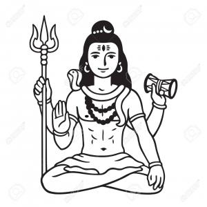Shiva Face Vector: Photostock Vector Lord Shiva Sitting In Lotus Pose Black And White Drawing In Cartoon Comic Style Isolated Vector Illu