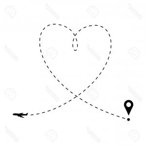 Black Heart And Plane Vector: Black Plane Its Track White Background Vector Illustration Black Plane Its Track White Background Image