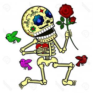 Skeletons In Love Vector: Photostock Vector Love Kneeling Presents Flower And Declares His Love Vector Flat And Linear Illustration Of Skeleton