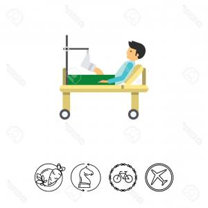 Broken Bed Vector: Photostock Vector Man With Broken Leg Icon