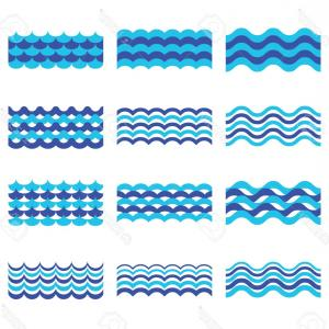 Ocean Wave Vector Illustration: Stylized Brushed Ocean Waves Splash Vector