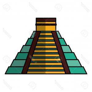 Maya Pyramid Vector: Ancient Mayan Pyramid On Green Grass Under Sky Vector