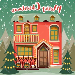 Free Vectors Christmas Vintage: Photostock Vector Merry Christmas Retro Card Winter Landscape With House Fir Tree And Snowfall Vintage Cartoon