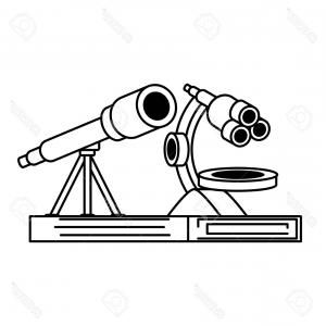 Vector Scopes Optics Drawings: Photostock Vector Microscope And Telescope Icon Over White Background Vector Illustration