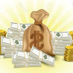 Hundreds Of Money Stacks Vector: Photostock Vector Money Set Paper Money Stack Of Gold Coins Sack Of Dollars